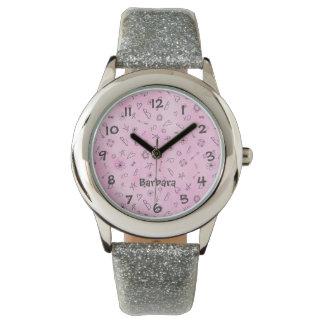 Relógio De Pulso Nome cor-de-rosa do costume da aguarela do
