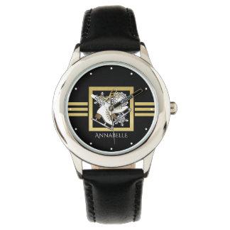 Relógio De Pulso Nome das meninas do ouro do falso do preto do