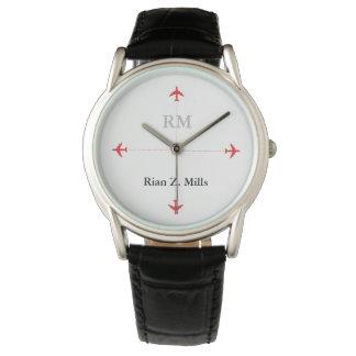 Relógio De Pulso nome personalizado + aviões das iniciais