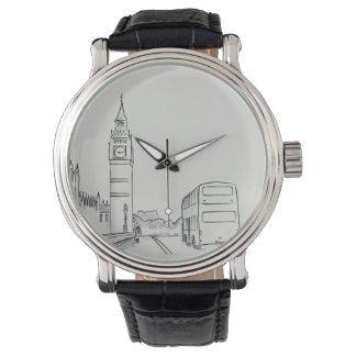 Relógio De Pulso Nostálgico elegante elegante do esboço de Londres