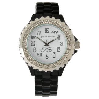 Relógio De Pulso Numerais misturados (personalizados) do preto do