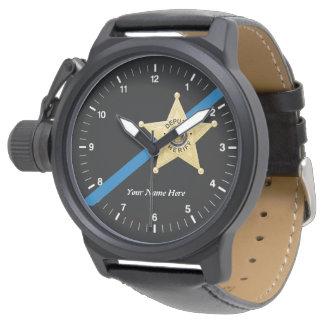 Relógio De Pulso O deputado xerife Blue Line fino olha