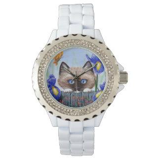 Relógio De Pulso O gato Burmese Siamese de Ragdoll torna