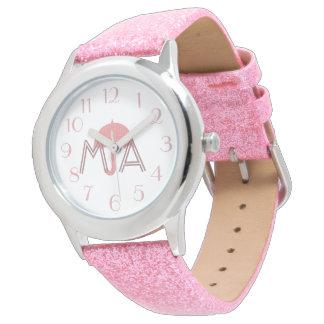 Relógio De Pulso O guarda-chuva cor-de-rosa bonito adiciona o