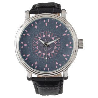 Relógio De Pulso O marinho ornamentado da mandala de Boho e