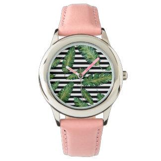 Relógio De Pulso O preto listra o teste padrão tropical do verão da