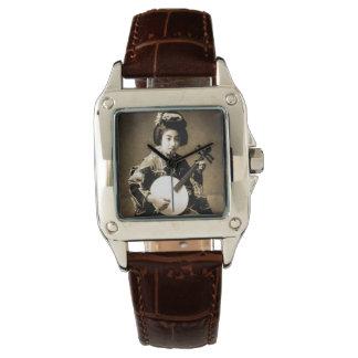Relógio De Pulso O Sepia do vintage tonificou a gueixa japonesa que