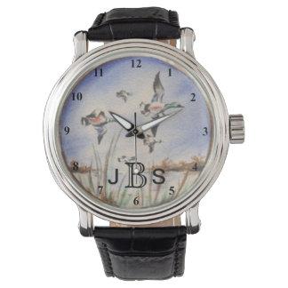 Relógio De Pulso O vôo do vintage Ducks o monograma masculino de  