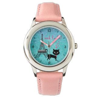 Relógio De Pulso Oh gato de Paris do La do La com torre Eiffel e