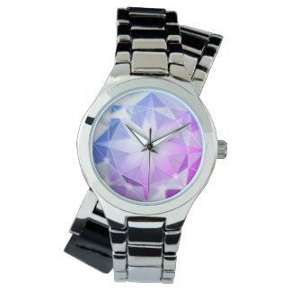 Relógio De Pulso Olhar cor-de-rosa azul do cristal de rocha do