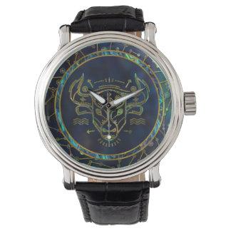 Relógio De Pulso Olmo do ouro do zodíaco do Taurus na constelação