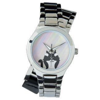 Relógio De Pulso Orelhas da coberta do gato do gatinho com fundo
