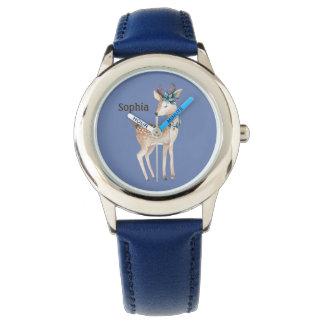 Relógio De Pulso Os cervos bonitos/jovem corça no azul