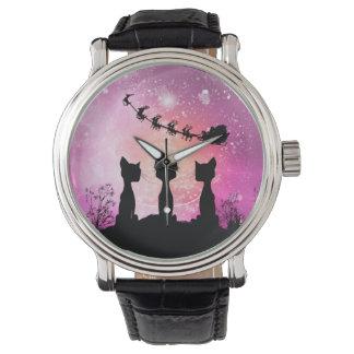 Relógio De Pulso Os gatos olham ao céu a Papai Noel