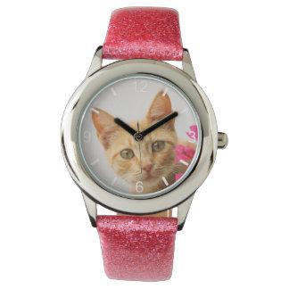 Relógio De Pulso Os olhos de observação do gatinho vermelho bonito
