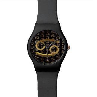 Relógio De Pulso Ouro do preto do símbolo do cancer do sinal do