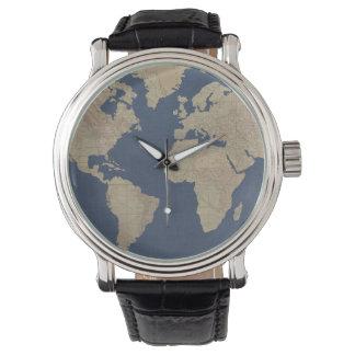 Relógio De Pulso Ouro e mapa do mundo azul