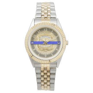 Relógio De Pulso Ouro memorável fino do tributo de Blue Line