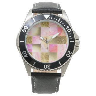 Relógio De Pulso ouro, pastels, cores de água, quadrados, colagem,