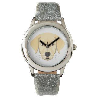 Relógio De Pulso Ouro Retriver do filhote de cachorro da ilustração