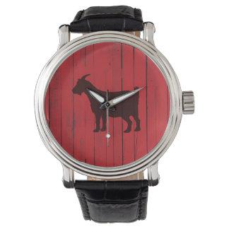 Relógio De Pulso Painel de madeira vermelho da cabra rústica do