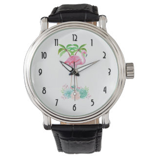 Relógio De Pulso Palmeiras e Succulents cor-de-rosa do flamingo