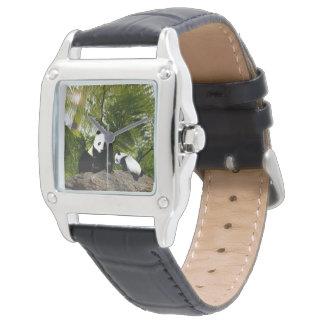 Relógio De Pulso Panda da mamã e do bebê, couro das senhoras