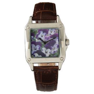 Relógio De Pulso Pansies roxos e brancos,