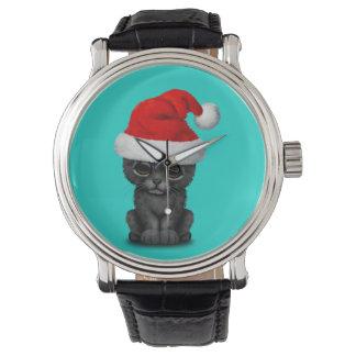 Relógio De Pulso Pantera preta bonito Cub que veste um chapéu do