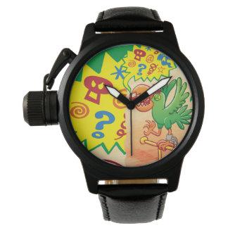 Relógio De Pulso Papagaio verde furioso que diz palavras más