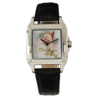 Relógio De Pulso Papai noel cor-de-rosa do Victorian