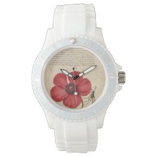 Relógio De Pulso Papoila vermelha e o inseto