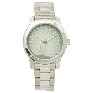 Relógio De Pulso Pavão branco japonês das belas artes | do vintage