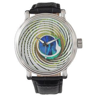 Relógio De Pulso Pavão em um design espiral, homens