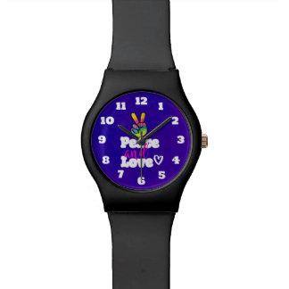Relógio De Pulso Paz do sinal de paz da mão do arco-íris e