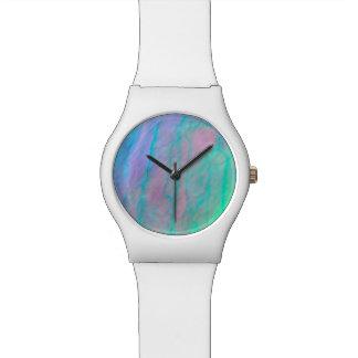 Relógio De Pulso Pedra da madrepérola da aguarela de Shell do olmo