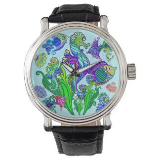 Relógio De Pulso Peixes exóticos & cavalos marinhos da vida marinha