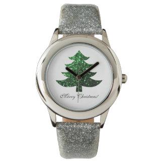 Relógio De Pulso Personalize sparkles Sparkly do verde da árvore de