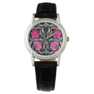 Relógio De Pulso Pimpernel de William Morris, cor-de-rosa e preto