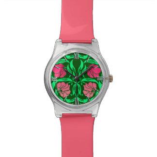 Relógio De Pulso Pimpernel de William Morris, cor-de-rosa e verde