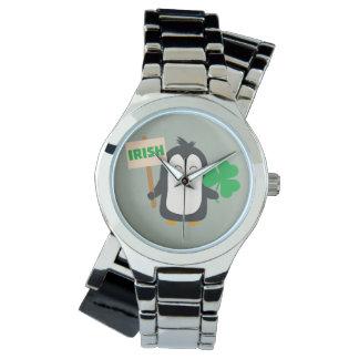 Relógio De Pulso Pinguim irlandês com trevo Zjib4