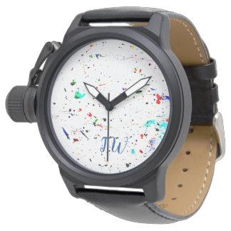Relógio De Pulso Pinte espirra e mancha a arte abstracta