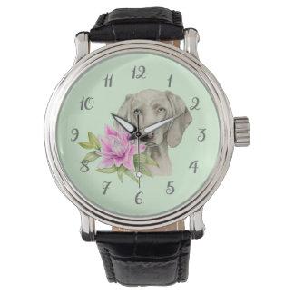 Relógio De Pulso Pintura da aguarela do cão e do lírio de