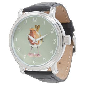 Relógio De Pulso Pintura da aguarela do pássaro do pisco de peito