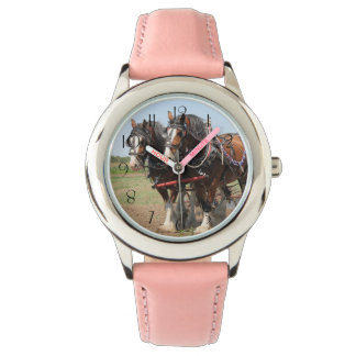 Relógio De Pulso Ploughing bonito dos cavalos do clydesdale