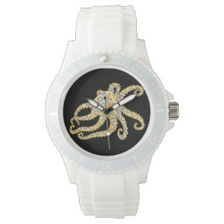 Relógio De Pulso Polvo azul do anel no preto