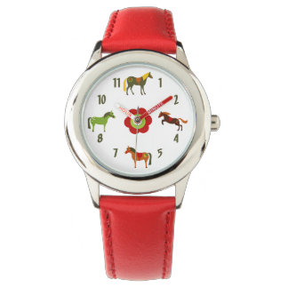 Relógio De Pulso Pôneis retros coloridos bonitos e cavalo da flor