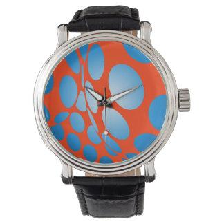 Relógio De Pulso Pontos azuis na laranja