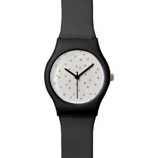 Relógio De Pulso Pontos modernos elegantes dos confetes do branco e