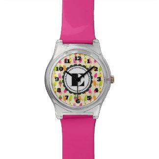 Relógio De Pulso Popsicles e monograma personalizado sorvete